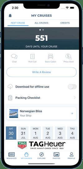 My cruises screenshot